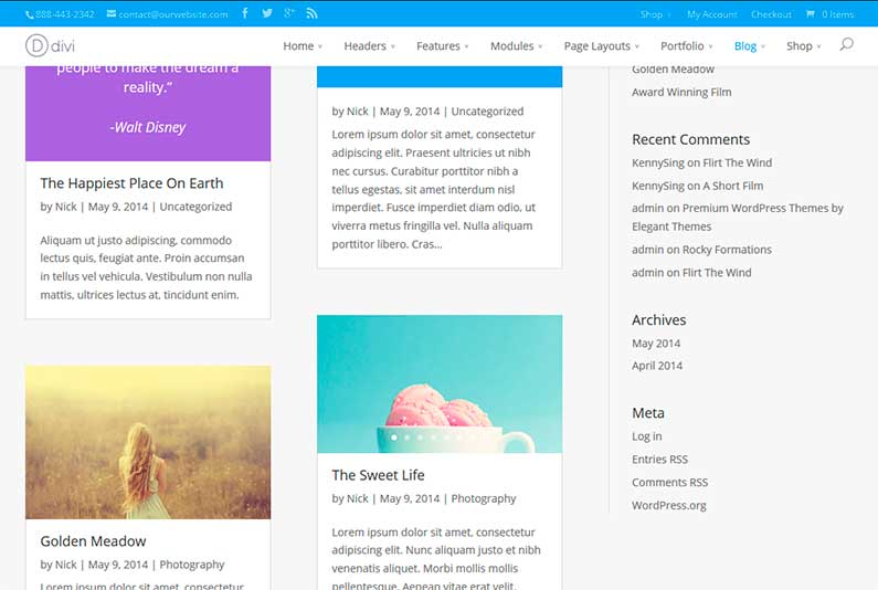 Plantilla wordpress DIVI - Blog masonry