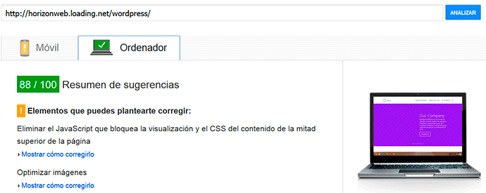 Test de google sobre wordpress y loading