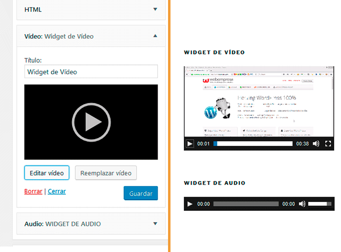 widget de vídeo, nuevo en wordpress 4.8