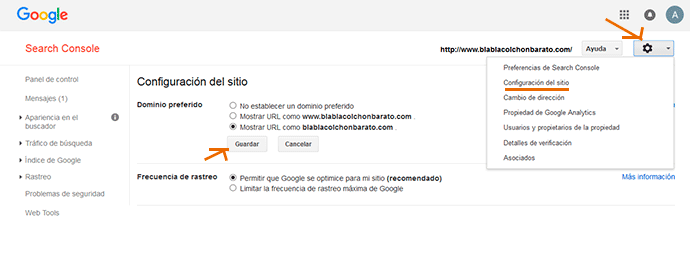 dominio preferido en Google Search Console
