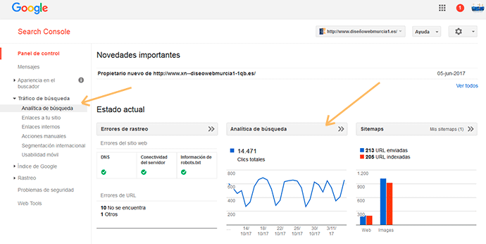analítica de búsqueda en google search console