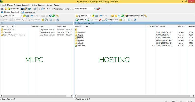 Interface cliente FTP WinSCP