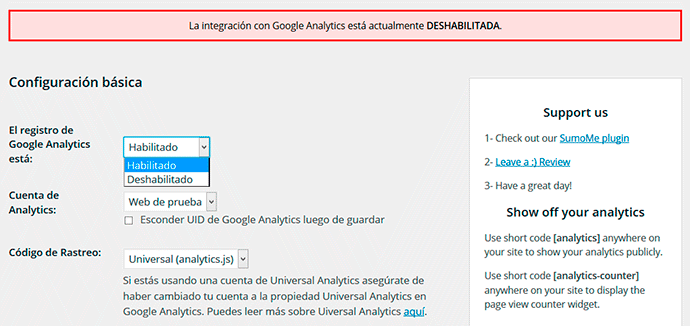 Configurar plugin analytics WordPress