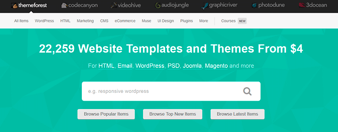 Plantillas para WordPress en Themeforest