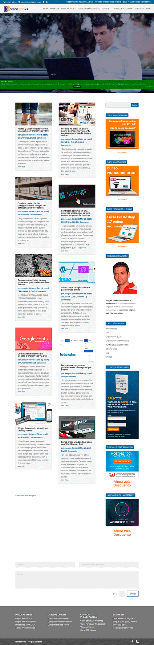 Blog realizado con Divi y wordpress
