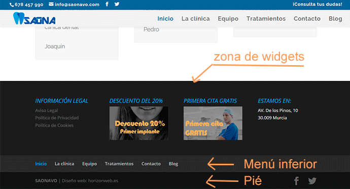 partes del footer wordpress