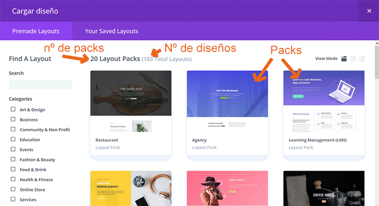 packs y demos disponibles en el repositorio de Elegant Themes
