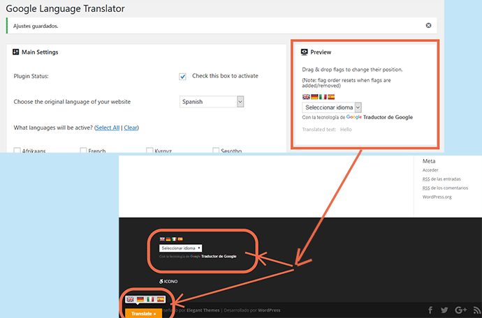 previsualizacion selector de idiomas wordpress google translator