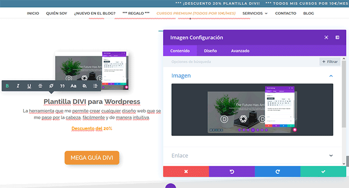 Divi builder visual o frontend