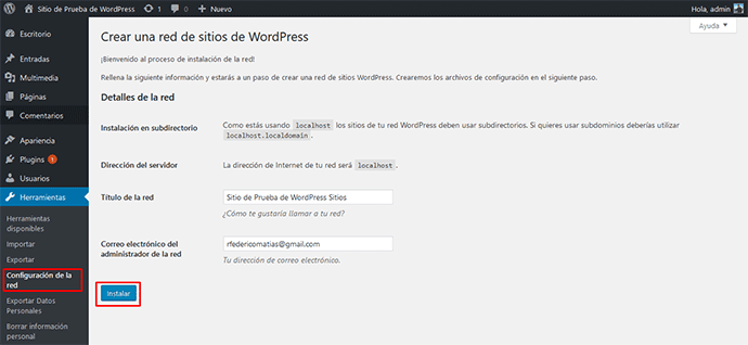 configuración de la red wordpress