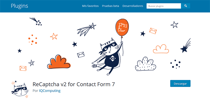 Plugin ReCaptcha V2 for Contact Form 7 para integrar contact form 7 y google recaptcha