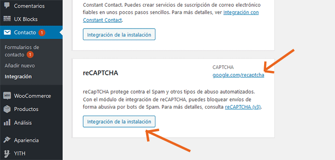 Integración reCAPTCHA Contact Form 7